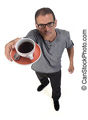 man with a cup of coffee on white background