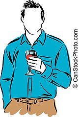 man with a cup of wine illustration