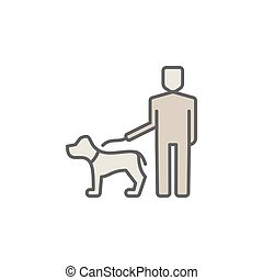 Man with a dog colorful icon