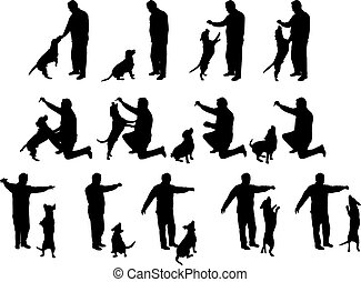 Man with a dog silhouettes