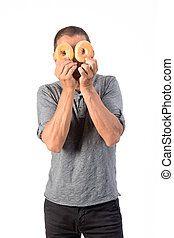 man with a donut on white background