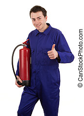 Man with a fire extinguisher