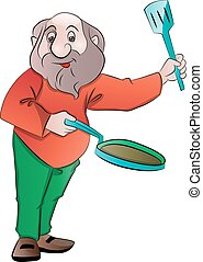Man with a Frying Pan and Laddle, illustration