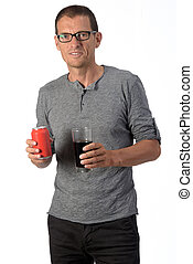 man with a glass of coke soda on white background