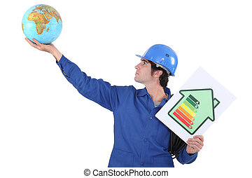 Man with a globe and energy rating sign