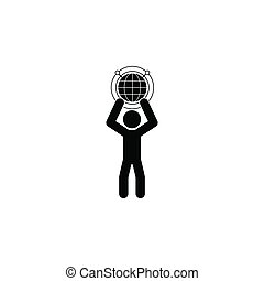 Man with a globe icon. Simple glyph, flat vector of technology with people icons for UI and UX, website or mobile application