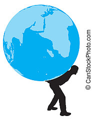 Man with a globe on his back
