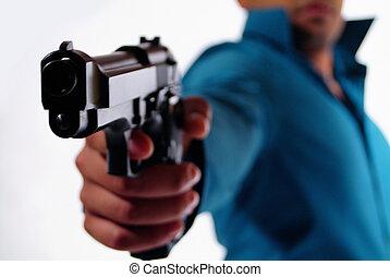 Man with a gun.