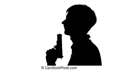 Man with a gun to his chin and tried to kill herself. Silhouette. White