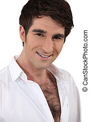 Man with a hairy chest in a white shirt