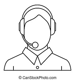 Man with a headset icon, outline style