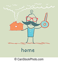 man with a house and key
