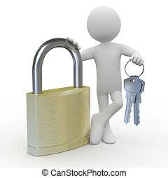 Man with a huge padlock