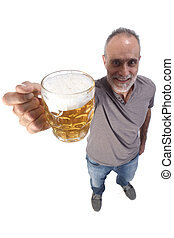 man with a jar of beer on white background