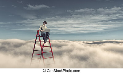 Man with a laptop on a ladder above the clouds
