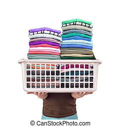 Man with a large basket of clean bright clothes on a white...