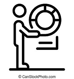 Man with a lifebuoy icon, outline style