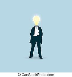 Man with a light bulb instead of head