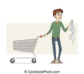 Man with a long shopping list
