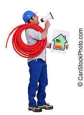 Man with a loudspeaker and household energy rating sign