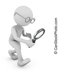 Man with a magnifying glass.