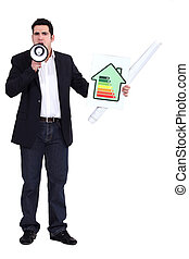 Man with a megaphone and energy rating card