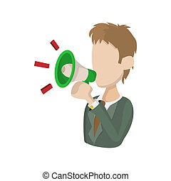 Man with a megaphone icon, cartoon style