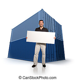 Man with a message and cargo containers
