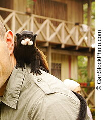 Man with a monkey on his shoulder