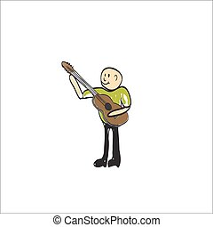 man with a musical instrument electric guitar illustration