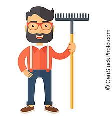 Man with a mustache holding rake.