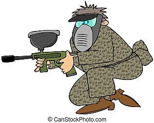 Man with a paintball gun