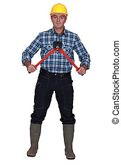 Man with a pair of boltcutters