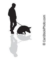 Man with a pig on a leash