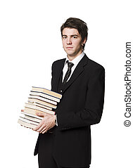 Man with a pile of books