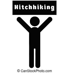 Man with a poster hitchhiking