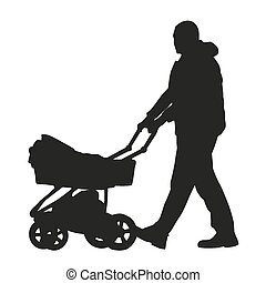 Man with a pram. Vector silhouette