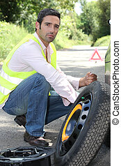 Man with a puncture