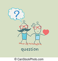 man with a question mark goes with a girl with a heart in his hand