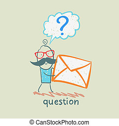 man with a question mark holds an envelope