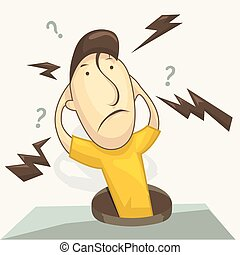 Man with a question what's going on or why? faces. Vector illustration in cartoon style