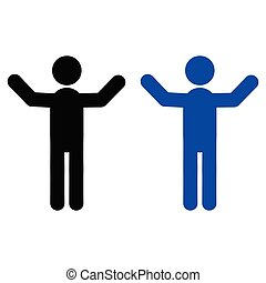 Man with a raised hand icon