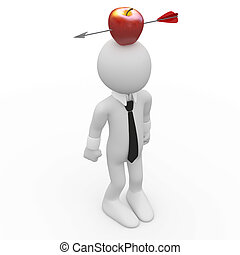 Man with a red apple on the head
