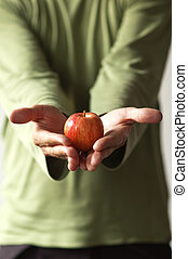 Man with a red apple