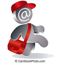 man with a red bag over his shoulder and in a red cap carries mail, icon, isolated object on a white background, vector illustration,