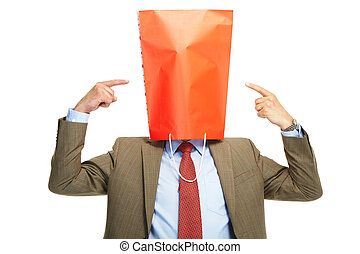 Man with a red box on a head