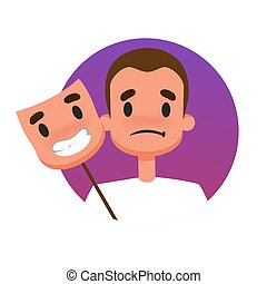 Man with a sad face behind happy mood mask