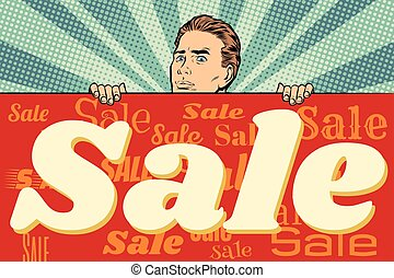 man with a sales banner