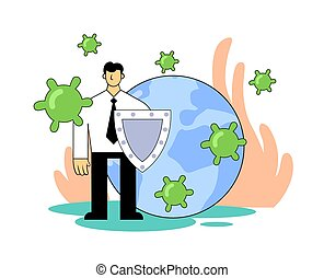Man with a shield in front of Earth globe, protecting it from green viruses. People fight virus, quarantine, COVID-19 world outbreak concept. Flat vector illustration, isolated on white.
