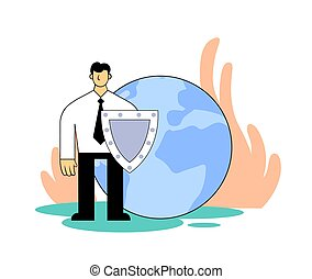 Man with a shield protects planet. Environmental problems, ...